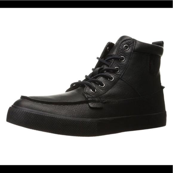 0916c39845f Polo Ralph Lauren Tavis Black Mens Sneaker Boots NWT